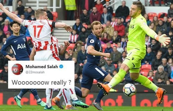 Tottenham's second goal against Stoke awarded to Harry Kane after successful appeal from Spurs… and Liverpool ace Mohamed Salah isn't happy