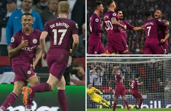 Tottenham 1 Manchester City 3 watch highlights: Raheem Sterling, Gabriel Jesus and Ilkay Gundogan score to leave Pep Guardiola on brink of title glory