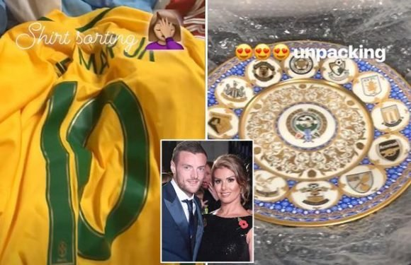 Rebekah Vardy unpacks husband Jamie Vardy's football memorabilia… including Neymar's Brazil shirt and his Premier League winners' medal