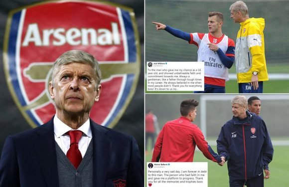 Arsene Wenger leaves Arsenal: Gunners players pay emotional tribute as French manager steps down after 22 years leaving stars in tears