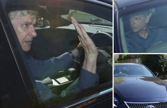 Arsene Wenger waves goodbye to Arsenal as he is seen for first time since quitting after 22 years in charge