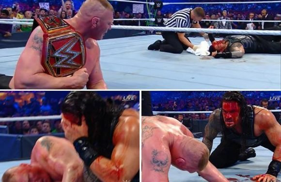 WrestleMania 34: Brock Lesnar leaves Roman Reigns a bloody mess with devastating elbow attack in title defence