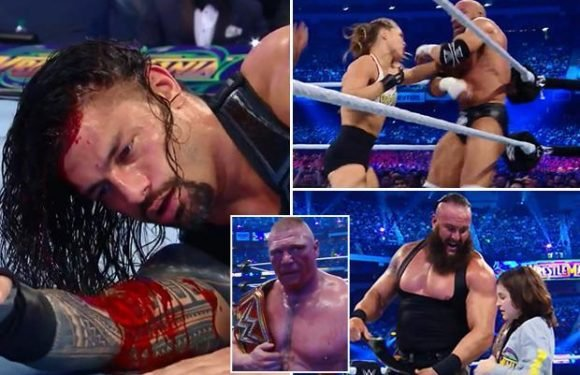 WrestleMania 34 round-up: Brock Lesnar legitimately leaves Roman Reigns a bloody mess, Ronda Rousey triumphs on debut and The Undertaker squashes John Cena in three minutes