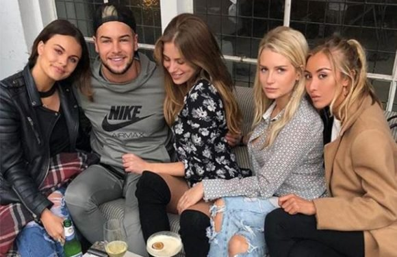 Chris Hughes shares snap of himself surrounded by Lottie Moss and a bevy of beauties weeks after split from Olivia Attwood