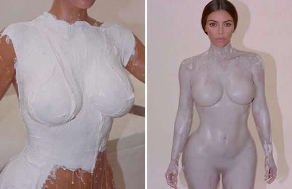 Kim Kardashian shares yet another naked photo – and this time she's covered in plaster