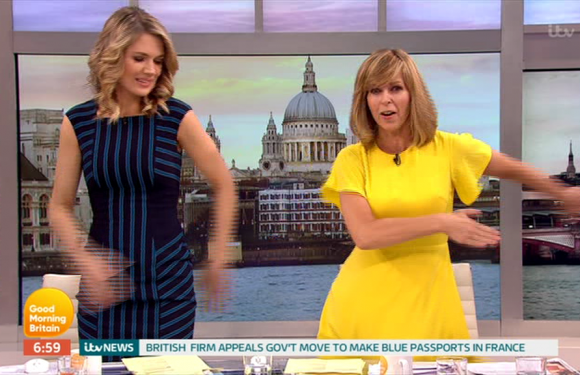 Kate Garraway and Charlotte Hawkins are the ultimate embarrassing mums as they learn viral 'Floss Dance' on Good Morning Britain