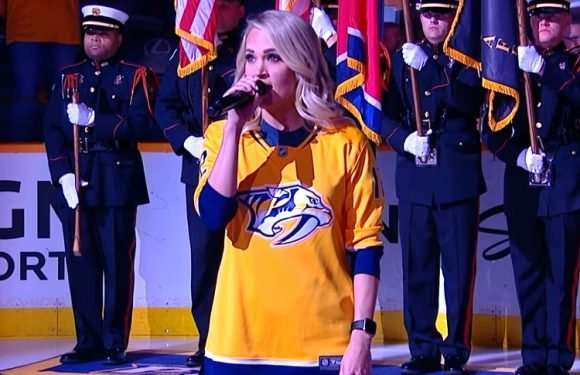 Carrie Underwood Performs on NHL Stage for the First Time Since Facial Injury