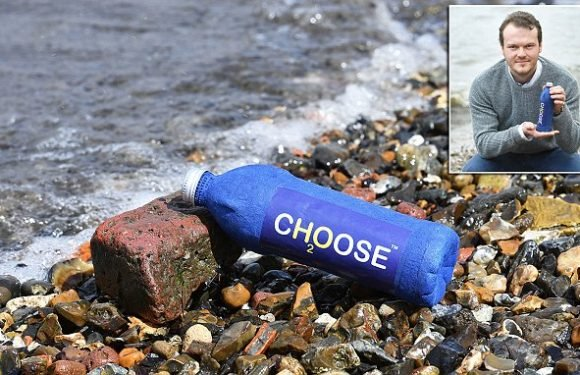 The paper bottle that disintegrates in saltwater in just THREE WEEKS