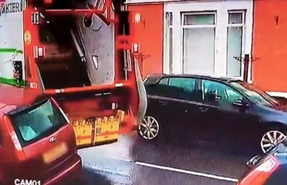 Shocking moment bin lorry driver smashes into car in Bridgend