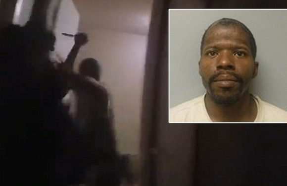 Moment crazed father stabs his two-year-old daughter and her mother
