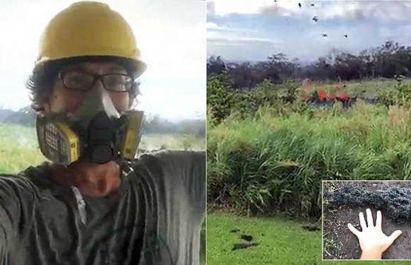 Daredevil Hawaiian films lava bombs being thrown in the air