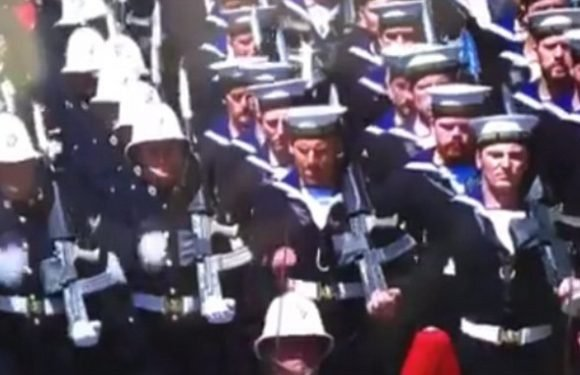 Sailor mercilessly mocked after marching out of time at royal wedding