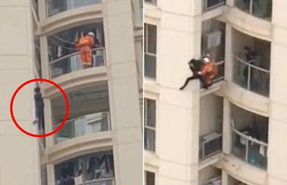 Firefighter saves a suicidal teen from the edge of a 16-storey balcony