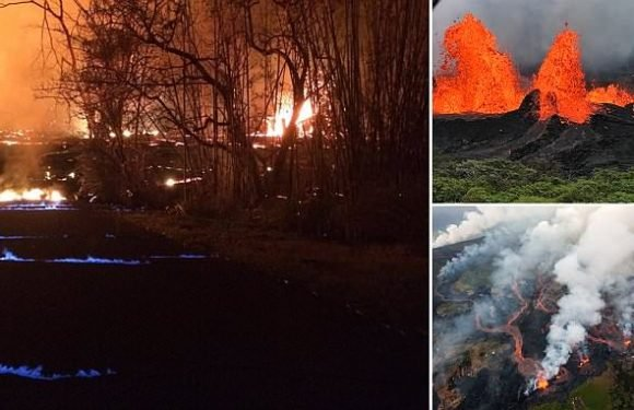 Hawaii street alight with BLUE flames as Kilauea eruption continues