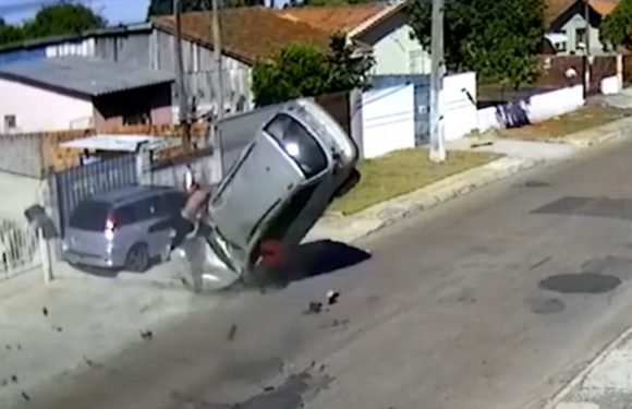 Car thief somersaults through the air as he is EJECTED from vehicle