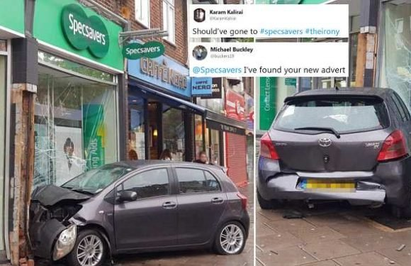 Driver smashes car through the window of a branch of Specsavers