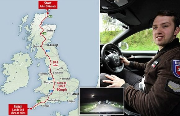 Car fanatic smashes land speed record from John O'Groats to Land's End