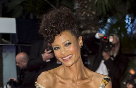 Thandie Newton wears custom dress adorned with black Star Wars characters