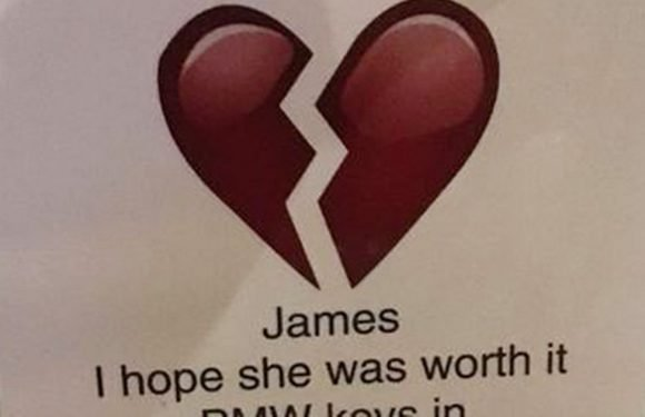 Woman shames cheating boyfriend with scathing note – it doesn't end well for BMW
