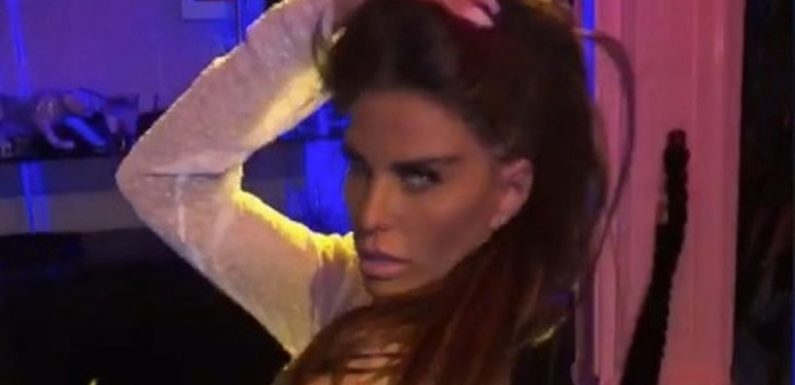 Katie Price flashes gyrates in white thong while flirting with James Argent