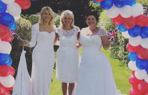 Holly Willoughby wears bridal gown for royal wedding with youthful mum and sis