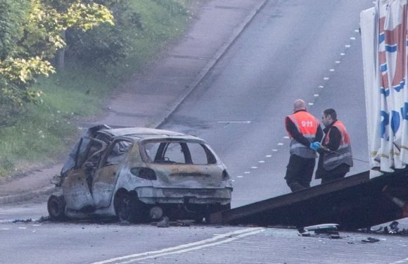 Search for Audi A3 driver who sped off after deadly fireball horror smash