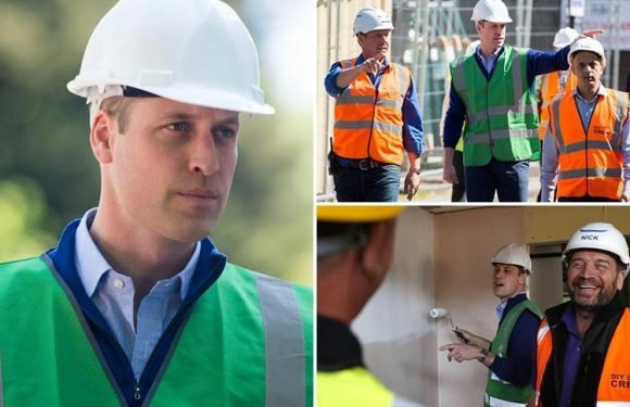 Prince William wears hard hat and hi-vis as he join Nick Knowles on site for DIY SOS Grenfell special