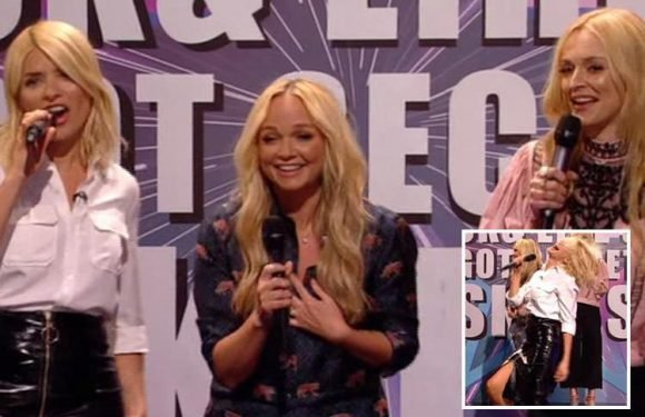 Fans beg Holly Willoughby to form a girl band after she showed off her singing skills with Fearne Cotton and Emma Bunton on Celebrity Juice
