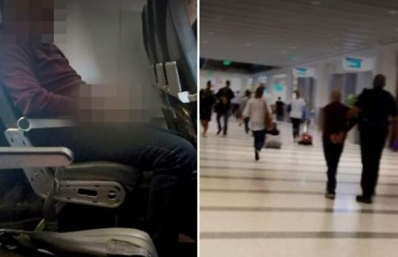 Shocking moment vile plane passenger urinates on seat in front of him after assaulting two women on US flight