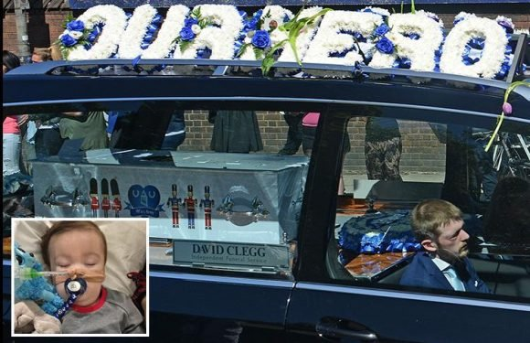 Heartache of Alfie Evans's dad as funeral takes tragic son on final journey with thousands crying, applauding and throwing flowers on his hearse