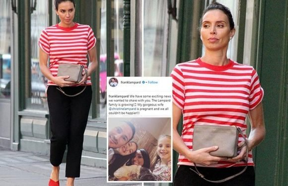 Christine Lampard tries to keep pregnancy a secret as she holds her bag in front of her belly just days before revealing baby news