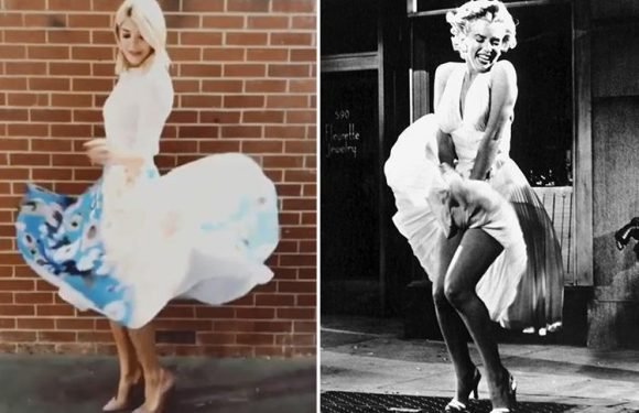 Holly Willoughby has a Marilyn Monroe moment as she flashes her legs in £241 outfit for This Morning