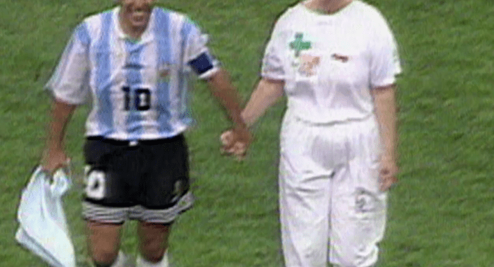 World Cup: Diego Maradona leaves pitch hand-in-hand with nurse before failing drugs test