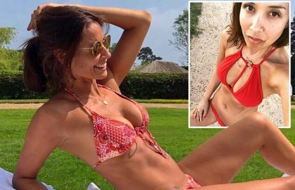 Melanie Sykes, 47, and Myleene Klass, 40, opt for red bikinis for day in the sun
