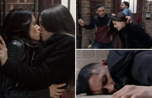 Coronation Street fans shocked as Zeedan Nazir punches man to save wife Rana as she kisses Kate Connor in an alleyway