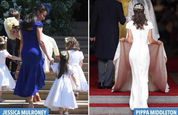 Meghan Markle's best friend Jessica Mulroney has a 'Pippa bum moment' as she heads into the church to see her pal marry Harry
