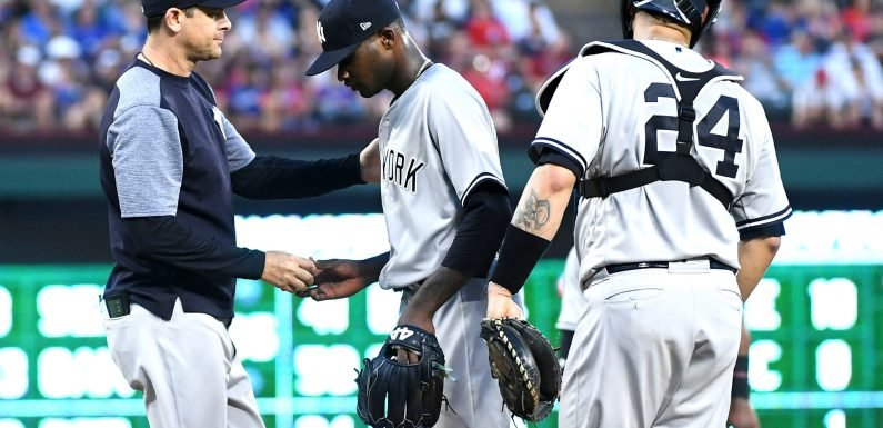 German hammered again, Boone ejected as Yankees fall short