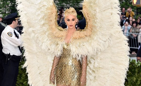 Katy Perry Transforms Into An Angel For Met Gala In Gold Gown & Massive Wings