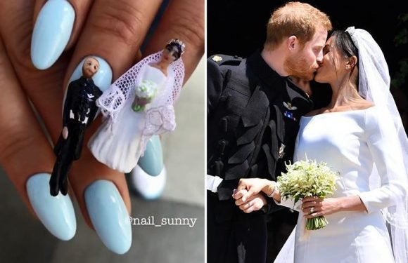Nail artist creates bizarre Royal Wedding-inspired design complete with a mini Meghan and Harry