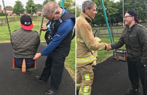 Embarrassed man, 20, calls firefighters to free him after he is trapped for hours in children's playground swing