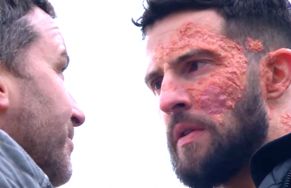 Emmerdale's Ross Barton gets shocking new information as he holds Connor at gunpoint tonight