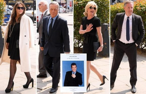 Dale Winton's famous friends Piers Morgan, David Walliams and Anthea Turner lead stars as they gather in London for his funeral