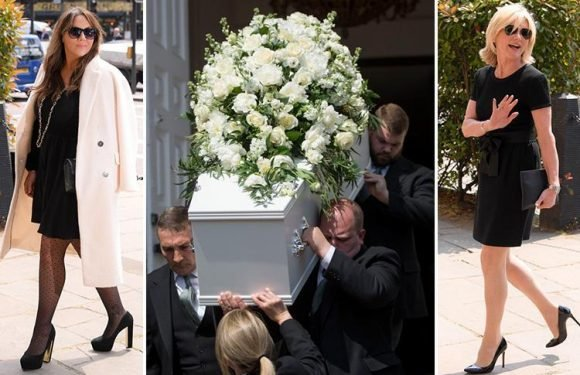 Dale Winton's famous friends including Piers Morgan, David Walliams and Anthea Turner applaud as star's coffin leaves his London funeral