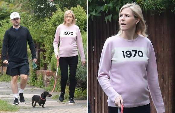 Declan Donnelly's wife Ali Astall shows off growing baby bump as couple walk their dog in London