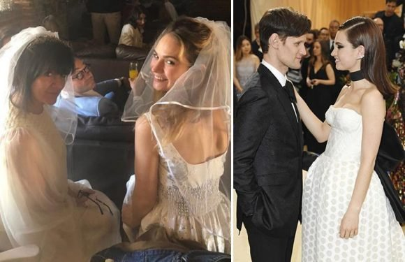 Lily James wears a vintage wedding dress and downs prosecco to celebrate Royal wedding after rumours she's engaged to Matt Smith