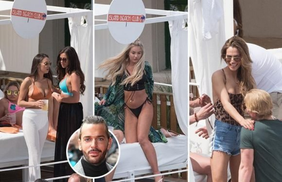 Towie's Shelby Tribble puts Pete Wicks heartache behind her as she joins Clelia Theodorou and Love Island's Chyna Ellis at booze-fuelled pool party in Mallorca