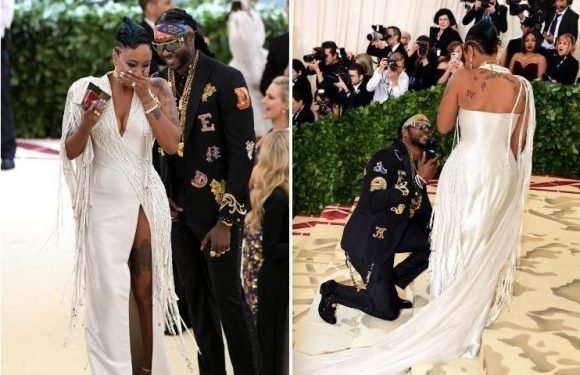 Rapper 2 Chainz proposes to long-term girlfriend Nakesha Ward on Met Gala red carpet with HUGE diamond ring