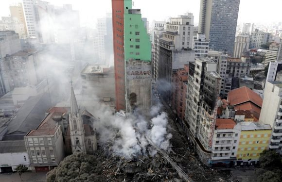 Blazing building collapses in Sao Paulo; one dead, three missing