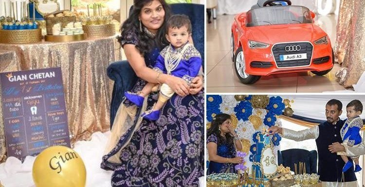 Doting parents splash out over £7,000 on son's royal-themed FIRST birthday party complete with lavish thrones… and Audi A3 was his present