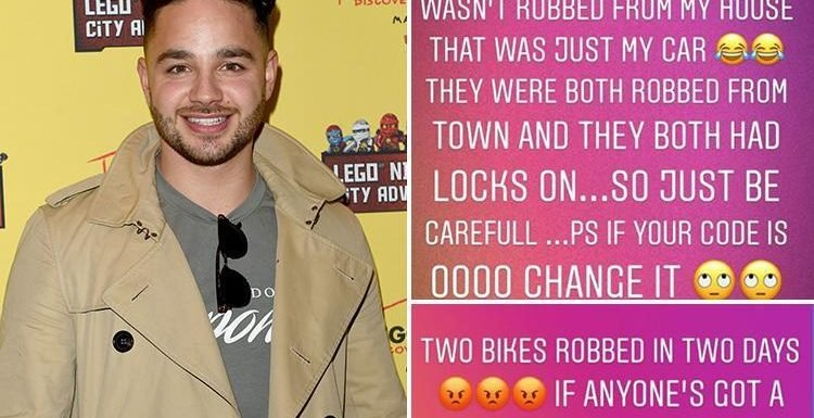 Adam Thomas reveals thieves have stolen two of his bikes in two days as well as his car from his drive